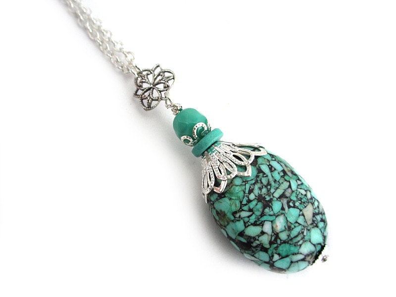 Mosaic Turquoise Necklace Turquoise Pendant Silver
