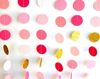 Pink Gold paper garland, metallic glitter Gold circles, pink gold wedding decoration, gold pink ombre bridal shower, baby shower garland