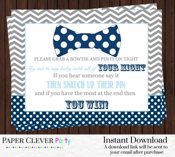 bow tie baby shower game don 39 t say baby pin game navy blue and baby