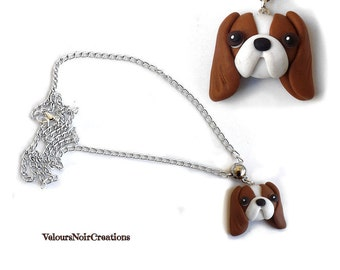 Necklace dog cavalier king charles spaniel polymer clay