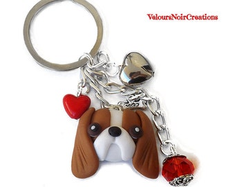 Keychain with dog cavalier king charles polymer clay