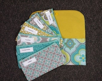Budget Envelope System, Cash Envelopes & Clutch -Aqua Yellow Morracan (It can be used with the Dave Ramsey system)