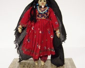 ANTIQUE TRIBAL DOLL (1930s) - Woman From Afghanistan - Handmade Cloth Doll with Embroidered Clothing, Beaded Jewelry & Braided Hair