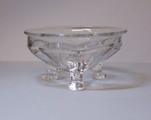 3-LEGGED GLASS DISH - Bowl For Candies, Soap or Rings & Trinkets - 6 Tapered Sides