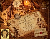 LARGE scroll box wedding, A Pirate, Renniasance, Destination Wedding Invitation Set, hand aged on parchment