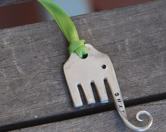 ELEPHANT Ornament hand stamped Personalized on trunk Vintage FORK Recycle art