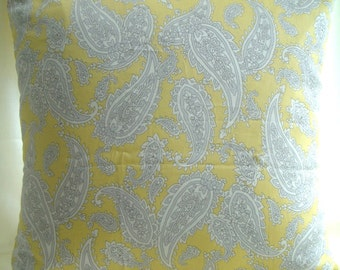Cushion Cover, Pillow in 100% Japanese cotton in yellows and grey design.