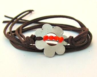 Leather Wrap around Bracelet, Flower Girl Gift, Leather Bracelet, Boho Jewelry Country Western Style