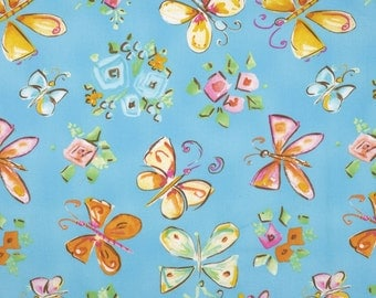 Dena Designs - Free Spirit Fabric - Tiddlywinks - Butterflies - Blue - Choose Your Cut-1/2 or Full Yard