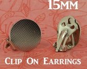 12 - 15mm Clip On/Clip-On Earring Posts/Backs with Glue Pad (6 Pairs) for Fabric Cover Button Earrings