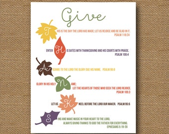 Give Thanks Printable | Thanksgiving Wall Art | DIY PRINTABLE | 8x10 Scripture, Bible Verse | Colorful Leaves Autumn Printable | Fall Leaves