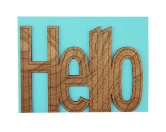 Real Walnut Wood Laser Cut Card - Hello