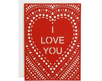 I Love You Laser Cut Card