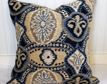 IN STOCK / Blue and Tan Tapestry Pillow Cover / 22 X 22 /  Tapestry Front with herringbone back