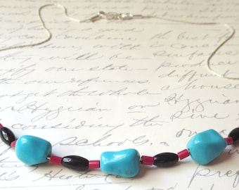 High Quality Turquoise Nugget Necklace with Black Onyx and Red Coral on Sterling Silver