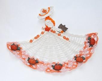 Fall Pumpkin Theme Crinoline Lady Crochet Doily