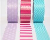 Purple Star,Blue Chevron and Pink Stripes Washi Tape Set of 3 Rolls