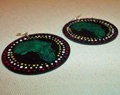 Makao Green Hand Painted Africa Earrings