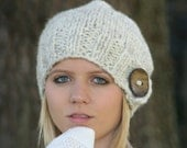 Slouchy Hat Knitted Beanie Winter Hat With Large Button THE BRIT Wheat White