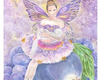 Fairy Art , Sugar Plum Fairy Ballerina with White Cat, Fairy Ballerinas, Snowflakes, Sugar Plums,  Fairy art print, 8 x10 Fairy Art  print