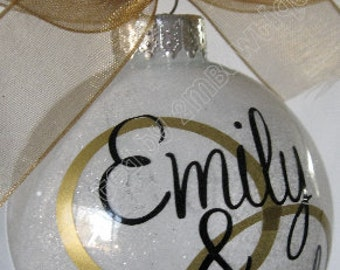 Great Gift Idea. Personalized First Christmas/Just Married Glitter Ornament, Glass. Newly Married Couple.
