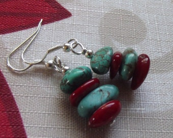 Handmade Coral Turquoise Nugget Silver Plated Fish Hooks Earrings Free US Shipping Gift Boxed