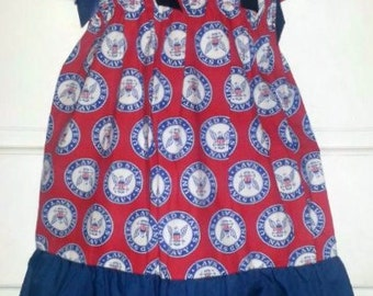 US Navy Boutique Pillowcase Dress w/ Solid Bottom Layer Sizes: Toddlers & Girls