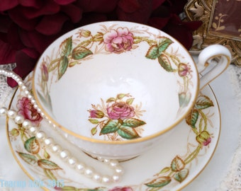 English Victoria Cartright and Edwards Chelsea Pattern Teacup and Saucer, Tea Party, Wedding Gift, English Teacup, 1936-1955