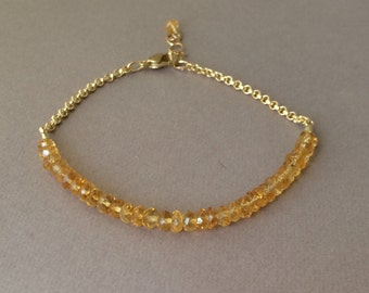 Citrine Gemstone Beaded Gold Bracelet also available in Silver
