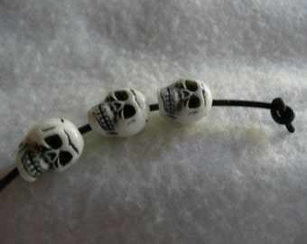 White Synthetic Skull Beads  25 Pieces