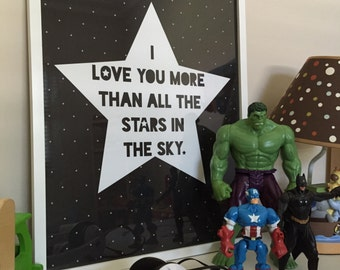 I love you more than all the stars - print quote for kids room