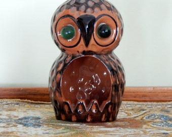 Vintage Owl Incense Burner Ceramic Owl Candle Holder Brown Owl Statue Figurine Home Decor