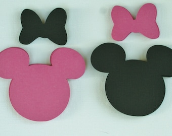 30 Minnie Mouse  Die Cuts. Hot Pink and Black. Hot Pink and Black bows included