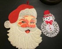 Vintage Christmas Decorations Styrofoam and Paper Santa Head Handmade Snowman Vintage Holiday Decor 1960s Christmas Decorations