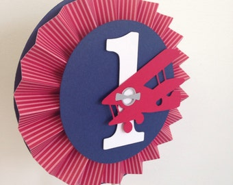 Vintage Airplane Smash Cake Toppers || Airplane Baby Shower || Airplane 1st Birthday || Gray, Navy, Red