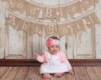Shabby Chic Whimsical Burlap Baptism Dedication God Bless Banner Bunting Blessings