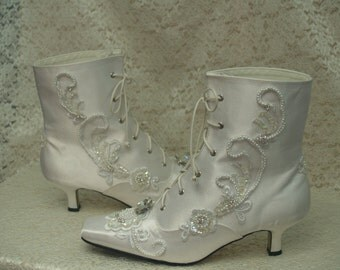 Victorian Bridal BOOTS Retro Style Diamond White, satin embellished, Great Gatsby style shoes, lace up, six hole boots,