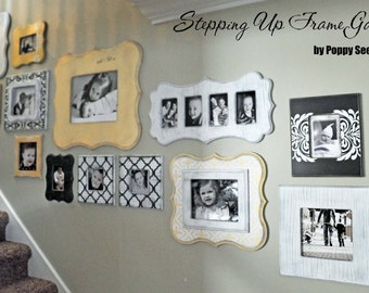 Gallery wall of whimsical unpainted frames - Step It Up