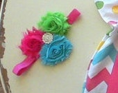 Easter headband, Spring Baby Girls Headband or Clip, Shabby flower, Hair Accessory pink, blue, green
