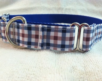 Blue Brown and White Plaid Martingale Dog Collar