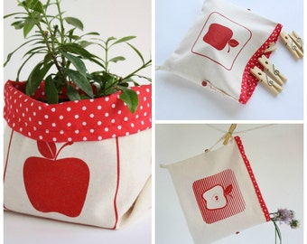 Fabric bucket with red apples handprinted - Cottton fabric bin organizer - Dual storage container bag-basket