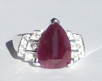 Natural 7.48 Carat Ruby & White Sapphire Ring Solid 925 Sterling Silver