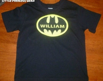 boys personalised batman tshirt