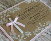 CUSTOM LISTING - Jeanne - 17 - rush - Winter ONEderland Invitation with Candle for a Girl