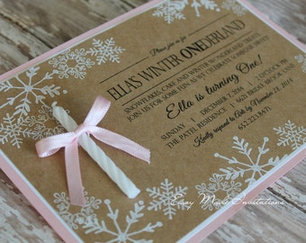 Winter ONEderland Invitation with Candle for a Girl