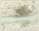 Liverpool 1865. Antique City Map of Liverpool, England by J.Bartholomew - MAP PRINT