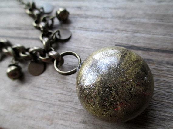 Green Beaded Necklace Handmade Beaded Jewelry Rustic Short Boho Pendant