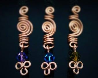 Loc jewelry X 3 swirl Copper wire and Swarovski Crystals hair accessorie Hair Jewellery small dreadlocks / microlocs