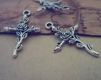 15pcs Antique silver Cross pendant charm 23mmx34mm