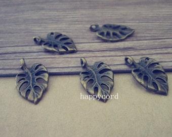 25pcs Antique bronze Leaf  pendant charm 12mmx20mm